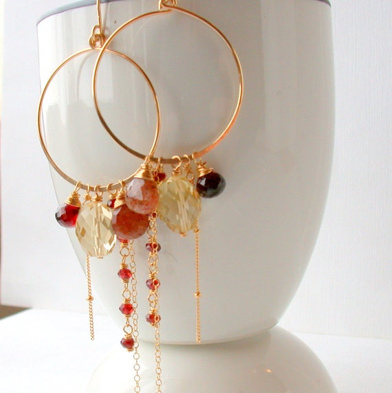 Sunset Gemstone Hoops