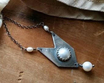 White Pearl Chevron Sterling Silver Necklace- Oxidized Silver, Large Round Pearl