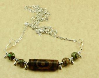 Handmade by Me Old Tibetan Agate Dzi Bead Focal Amulet Necklace