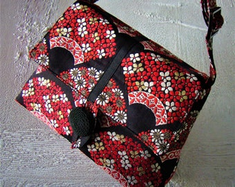 Small Obi Purse - red flowers