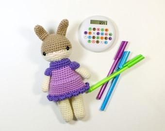 sayra .. stuffed plushie rabbit doll, bunny girl toy, crochet amigurumi animal