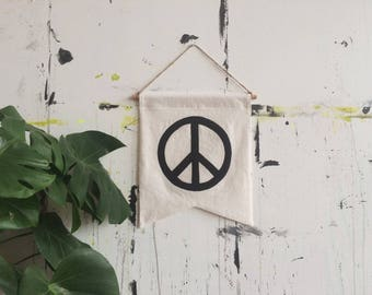 PEACE Banner / wall hanging banner pennant flag, home decor, linen