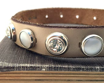 Small Dog Collar Taupe Leather with Pearls and Rhinestones, Size XS/S to fit a 8-11 Neck, Small Leather Dog Collar, Seattle Handmade, OOAK