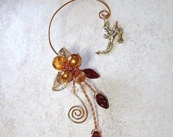 ON SALE Fairy Star Amber Ear Cuff Climber No Piercing, Fairy Jewelry, Fantasy Ear Cuff Vine Wrap