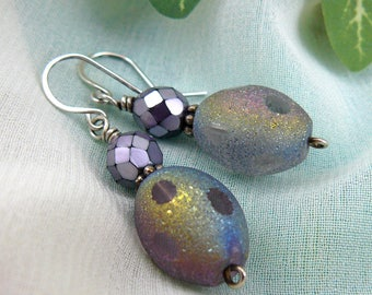 Rainbow Earrings ~ Frosted Glass Earrings ~ Purple Earrings ~ Silver and Purple Earrings ~ Purple Glass Earrings ~ Purple Bead Earrings