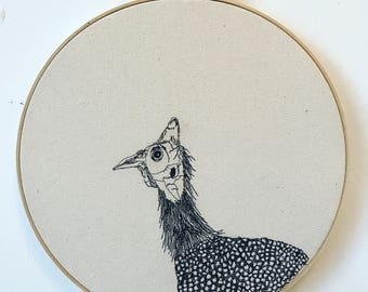 Freehand Machine Embroidered  Helmeted Guineafowl Portrait