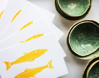 Duo of Fish Home Decor  Art Prints  Wall Art  Wall Decor Art  Screen Print  Silk Screen Print Gocco Print  Kitchen Decor  Limited Edition