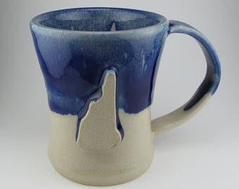 Handmade Pottery Ceramic Cobalt Blue and Straw Yellow NH Mug By Powers Art Studio