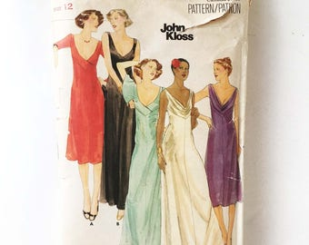 John Kloss Vintage 70s Maxi Gown Sewing Pattern Butterick 5118 Plunging Neckline Sexy Stretch Knits Only 34 Bust
