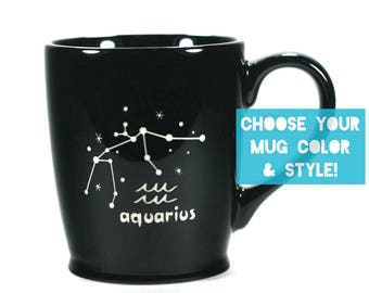 Aquarius Zodiac Constellation Mug - Choose Your Cup Color