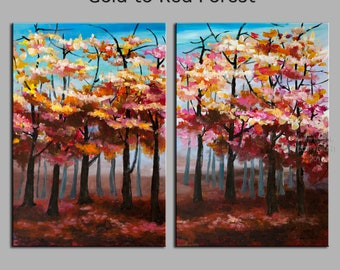 Original Landscape painting Forest skyline Art multi colors Looking Up oil painting huge size