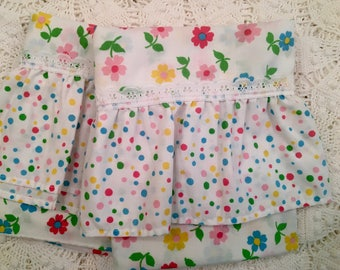 Pair Vintage Pillow Cases - Colorful Polka Dots and Flowers - Lace and Ruffle - Standard Size  - Featherlite Cannon Pillowcases - Farmhouse