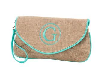 Burlap Clutch, Natural Jute Clutches, Mint Aqua Handbags, Jute Purses, Burlap Purse, Women's Purses, Ladies Handbags, Natural Fiber Clutch