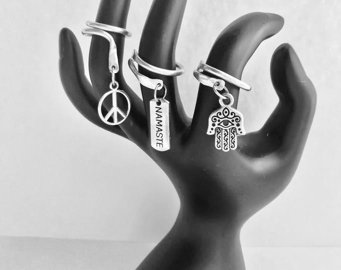 Knuckle Rings *Half-Finger Rings *Peace Ring *Namaste Ring *Hamsa Ring *3 Ring Set *Triplet Rings