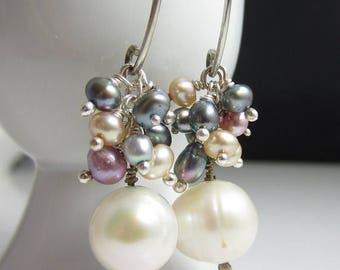 SUMMER SALE Pearl Dangle Earrings