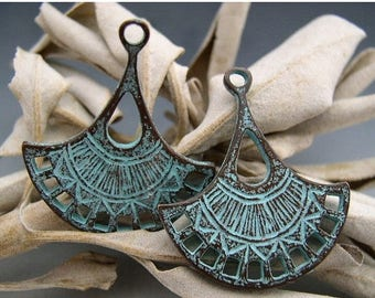 SALE Naos - Lotus Blossom Double-Sided Charms - Mykonos Greek Copper Antiqued Green Turquoise