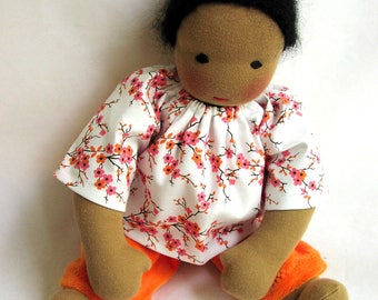 Waldorf doll clothes, Waldorf doll, 10 - 12 inch clothes, Pink flowers, doll blouse, doll shirt, Steiner doll, Waldorf toy, germandolls
