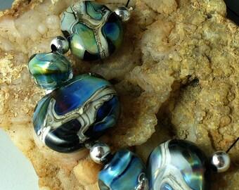 Lampwork beads/SRA lampwork/beads/glass beads/Stormy Sea/blue/green/silvered ivory/