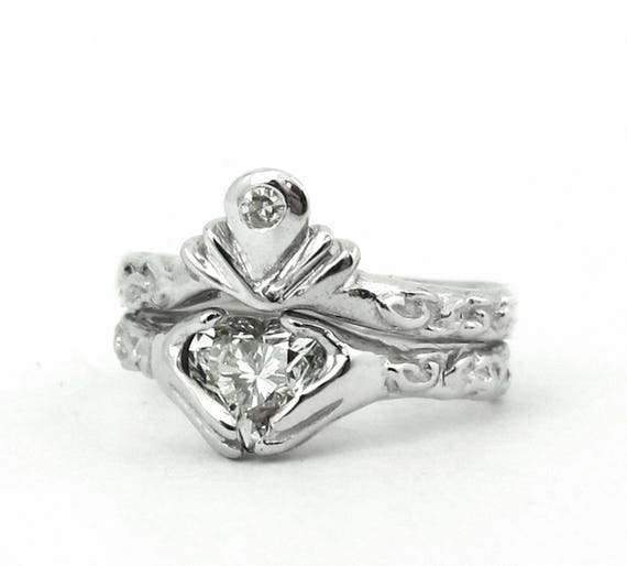 Claddagh Wedding Engagement Ring Set Silver Celtic