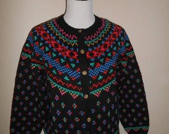 Closing Shop 40%off SALE Vintage 90s faire Isle cardigan sweater Acrylic