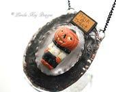 Trick or Treat JOL Halloween Necklace Antique Vintage Inspired Hand Painted Pumpkin Necklace Lorelie Kay Original