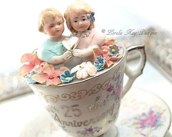 Still My Cup Of Tea Teacup Art Doll Assemblage Art Doll China Teacup Mixed Media Doll Sculpture 25th Anniversary Gift Party Decoration