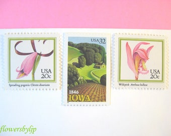 Rustic Wedding Postage Pink and Green, Pink Orchid - Iowa Farm Stamps, Mail 20 Wedding Invitations 2018 2 oz, 71 cents pink flower stamps