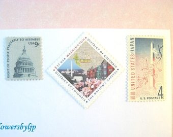 Washington DC Postage, Cherry Blossoms - Monuments - Capitol Dome - District of Columbia, Mail 10 Cards RSVPs, 50 cents postage 1 oz spring