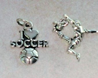Sterling Silver I Love Soccer and Kicking Soccer Player Charms