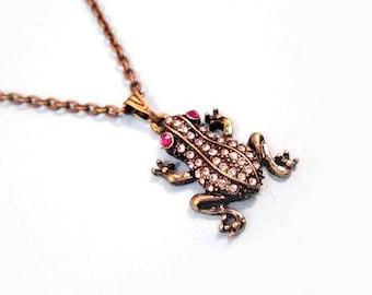 Frog Necklace, Elegant Amphibian, White and Pink Glass Rhinestones, Brass Pendant Necklace, FREE Shipping U.S.