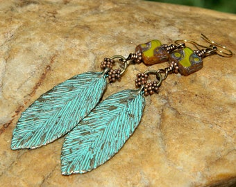 Patina Leaf and Czech Bead Boho Earrings