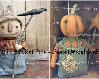 Harvest  Pals Epattern Fall Scarecrow and Pumpkin Primitive Dolls