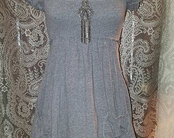 30% OFF Gray Puffed Sleeve Top Mini Dress XS Small Rave Grunge Goth