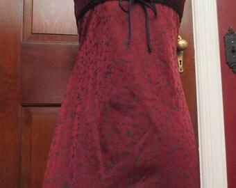 30% OFF Vintage Slip Style Dress Small Gothic Sexy Burgundy Black