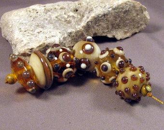 Handmade Lampwork Beads by Monaslampwork - Ivory and Amber - Lampwork Glass by Mona Sullivan Designs Opalescence Organic Bohemian