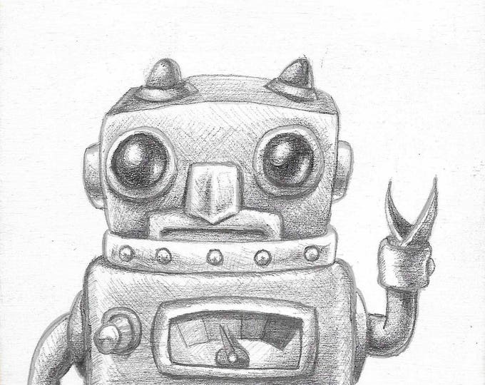 Howdy Robot - Original drawing on wood by Mr. Hooper of Nashville, Tennessee