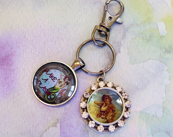 Two Mermaids key ring with bling...vintage mermaids,gift boxed,  Ready To Ship TODAY,  mermaid accessories, mermaid jewelry