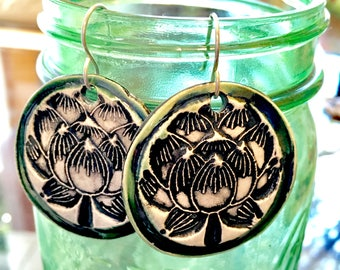 Lotus Flower Ceramic Earrings in Green