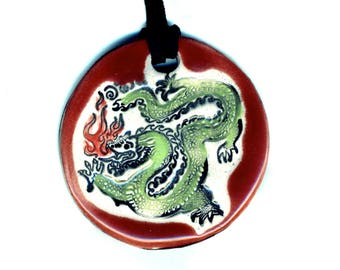 Dragon Ceramic Necklace in Red