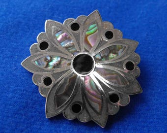 Vintage Brooch, Sterling Silver, Abalone Shell, Onyx, Mandala, Mexico, ca 1960 LK-04