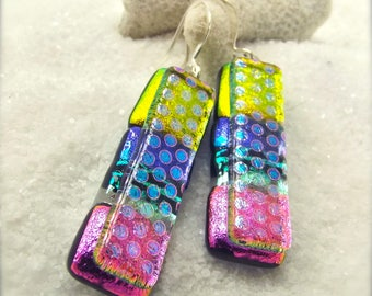 Fused glass jewelry,Dichroic glass earrings, Fused glass art, dichroic glass beads, rainbow jewelry, Hana Sakura, jewelry handmade, artisan