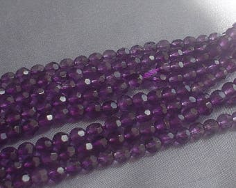 natural gemstone purple amethyst faceted round bead 4 mm / 15 inch