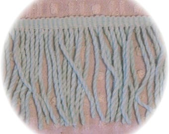 Mint Green Bullion Vintage Chenille Bedspread Quilt Trim Fringe 7 yards 30 inches