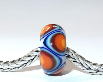 Luccicare Lampwork Bead - Rainbow IV -  Lined with Sterling Silver