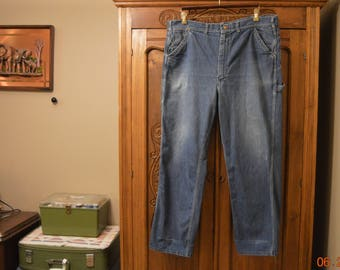 "50's LEE Pants W44"" L30"" Sanforized Blue Jeans, Union Made, VTG Jelt Denim, Chore Work Pants Selvage USA Made Lee's"