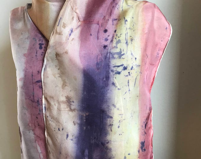 Handpainted naturally dyed silk scarf - unique, one of a kind, plant dyed eco friendly fashion. 003