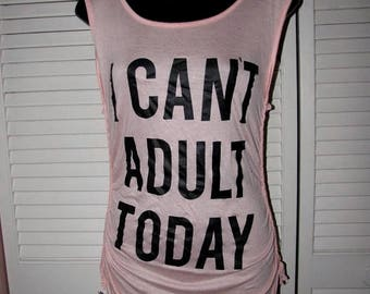 snip snip its my birthday super soft seashell pink black I cant Adult Today cut up shredded backless t shirt tank top tunic one size fits mo