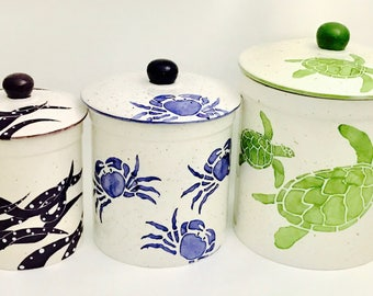 Coastal Three Canister Set. Turtle. Crab. Octopus.  Canister Set. Whimsical. Housewarming. Wedding.By Sara Hunter