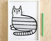 Geometric Cat Screen Print by Jane Foster  - hand printed signed