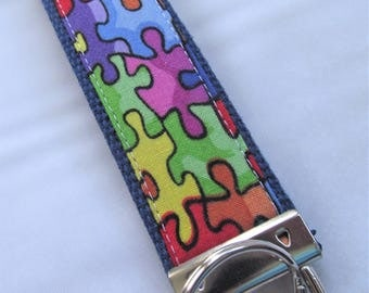 Key Fob Key Chain Wristlet in Puzzle Pieces - Autism Awareness